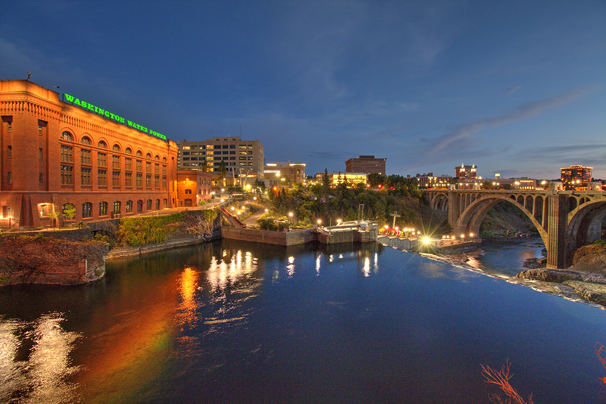 lower Spokane Falls at night